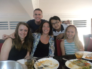 Meg, Mummy, Johnny, Sineth and me.