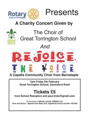 Torrington School and Rejoice the Voice fundraising concert 7th February